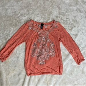 Inc International Coral Embroidered Peasant Top XS